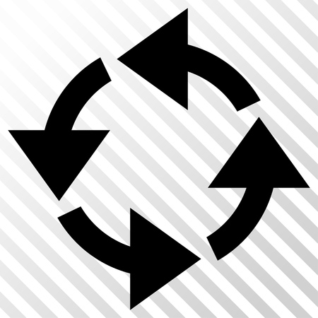 discard: Recycle vector icon. Image style is a flat black icon symbol on a hatch diagonal transparent background.