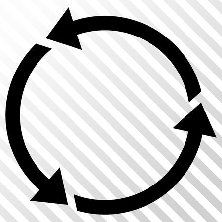 cíclico: Reciclar el icono del vector. estilo de la imagen es un símbolo de icono negro plano sobre un fondo transparente diagonal escotilla.