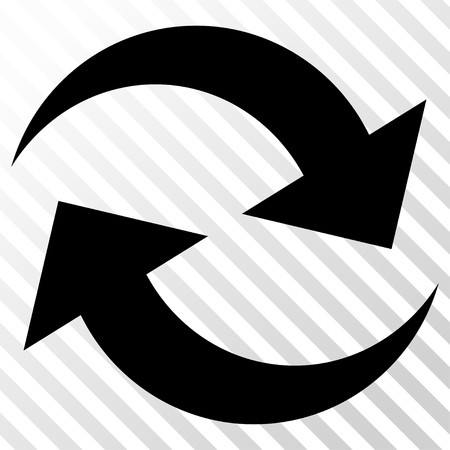 inverse: Refresh Arrows vector icon. Image style is a flat black iconic symbol on a hatch diagonal transparent background.