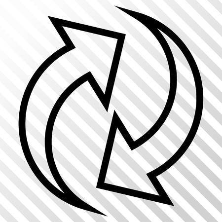 Refresh Arrows vector icon. Image style is a flat black iconic symbol on a hatch diagonal transparent background.