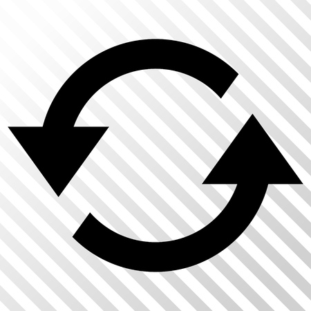the hatch: Refresh Arrows vector icon. Image style is a flat black pictograph symbol on a hatch diagonal transparent background.