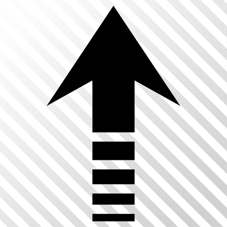 go forward: Send Up vector icon. Image style is a flat black pictogram symbol on a hatch diagonal transparent background.