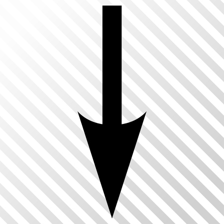 hatch: Sharp Arrow Down vector icon. Image style is a flat black iconic symbol on a hatch diagonal transparent background. Illustration