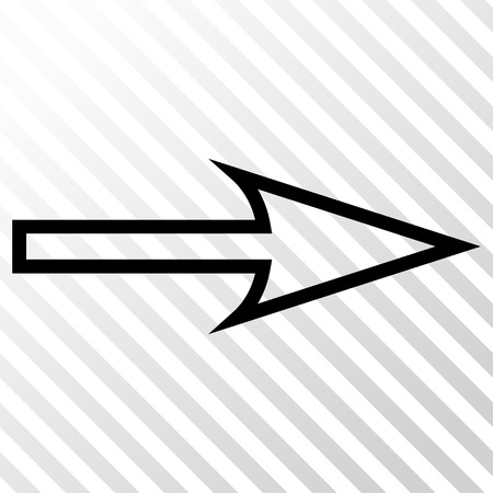 Sharp Arrow Right vector icon. Image style is a flat black icon symbol on a hatch diagonal transparent background.