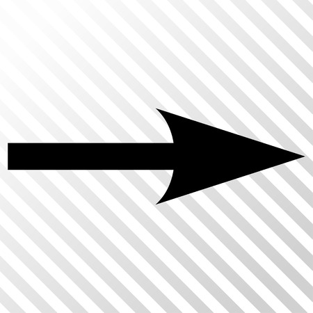 Sharp Arrow Right vector icon. Image style is a flat black pictograph symbol on a hatch diagonal transparent background.