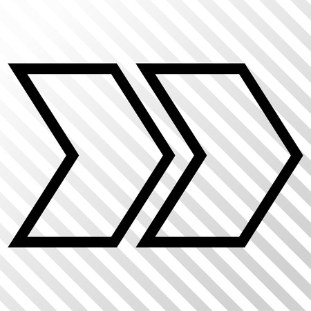 following: Shift Right vector icon. Image style is a flat black iconic symbol on a hatch diagonal transparent background.