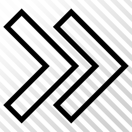 the hatch: Shift Right vector icon. Image style is a flat black iconic symbol on a hatch diagonal transparent background.