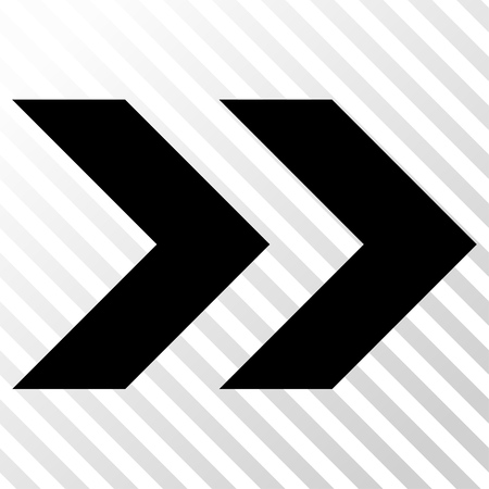 redirect: Shift Right vector icon. Image style is a flat black pictograph symbol on a hatch diagonal transparent background.
