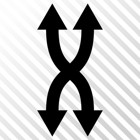 synchronize: Shuffle Arrows Vertical vector icon. Image style is a flat black pictograph symbol on a hatch diagonal transparent background. Illustration