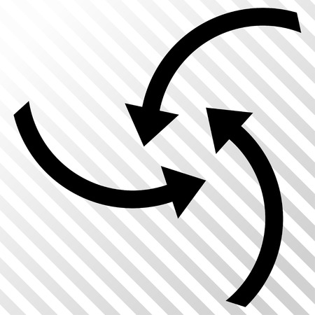 Swirl Arrows vector icon. Image style is a flat black pictograph symbol on a hatch diagonal transparent background.