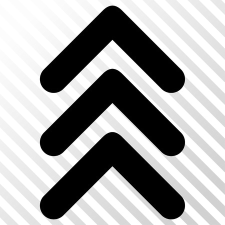 triple: Triple Arrowhead Up vector icon. Image style is a flat black pictograph symbol on a hatch diagonal transparent background.