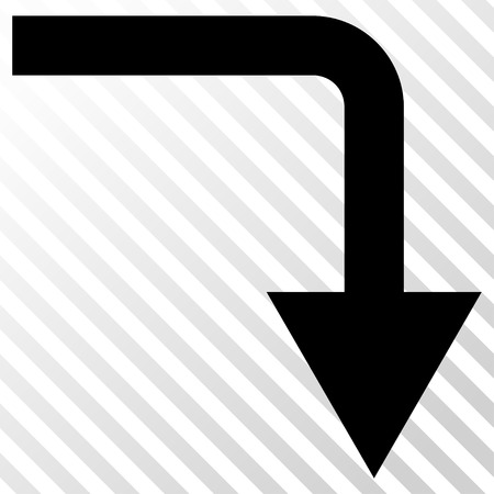 hatch: Turn Down vector icon. Image style is a flat black pictograph symbol on a hatch diagonal transparent background. Illustration
