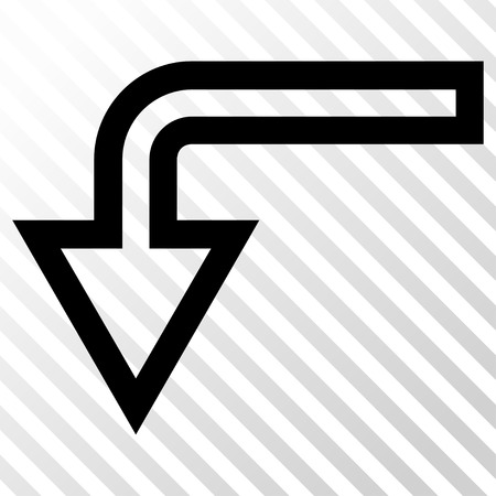 turn down: Turn Down vector icon. Image style is a flat black icon symbol on a hatch diagonal transparent background.