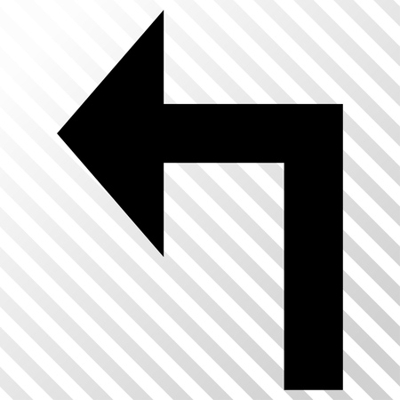 the hatch: Turn Left vector icon. Image style is a flat black icon symbol on a hatch diagonal transparent background.