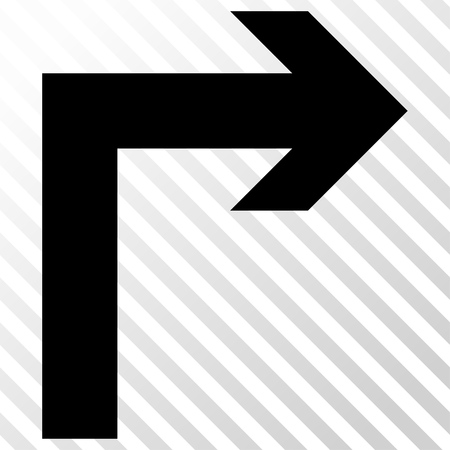 the hatch: Turn Right vector icon. Image style is a flat black icon symbol on a hatch diagonal transparent background. Illustration