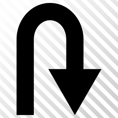 turn on: U Turn vector icon. Image style is a flat black icon symbol on a hatch diagonal transparent background.