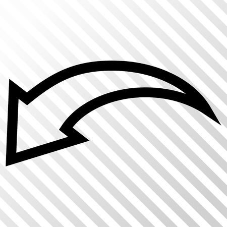 Undo vector icon. Image style is a flat black icon symbol on a hatch diagonal transparent background.
