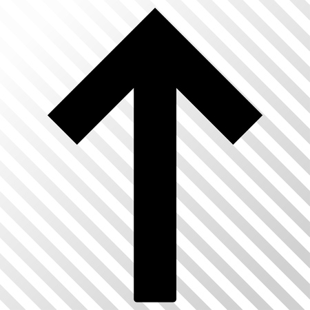 go forward: Up Arrow vector icon. Image style is a flat black pictogram symbol on a hatch diagonal transparent background. Illustration