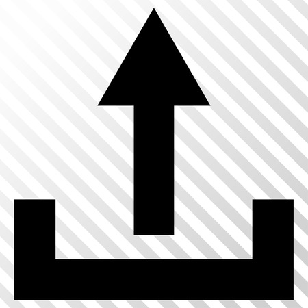 the hatch: Upload vector icon. Image style is a flat black pictograph symbol on a hatch diagonal transparent background.