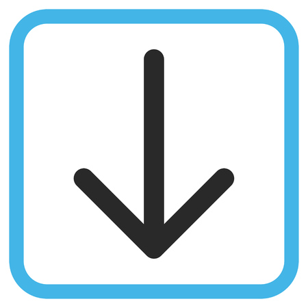 Arrow Down blue and gray vector icon. Image style is a flat pictograph symbol in a rounded square frame on a white background.