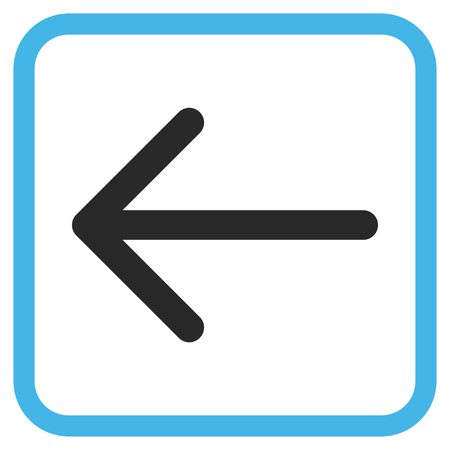 Arrow Left blue and gray vector icon. Image style is a flat iconic symbol inside a rounded square frame on a white background. Illustration
