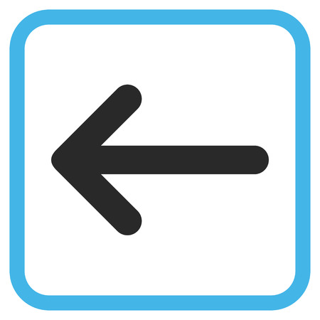 frame less: Arrow Left blue and gray vector icon. Image style is a flat pictogram symbol in a rounded square frame on a white background.