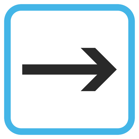 propel: Arrow Right blue and gray vector icon. Image style is a flat pictogram symbol inside a rounded square frame on a white background.