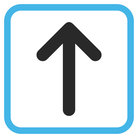 Arrow Up blue and gray vector icon. Image style is a flat iconic symbol in a rounded square frame on a white background.