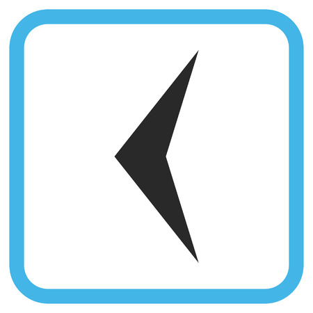 arrowhead: Arrowhead Left blue and gray vector icon. Image style is a flat iconic symbol in a rounded square frame on a white background.