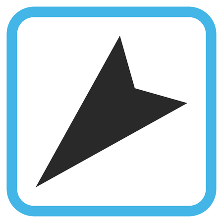 arrowhead: Arrowhead Left-Down blue and gray vector icon. Image style is a flat icon symbol inside a rounded square frame on a white background.