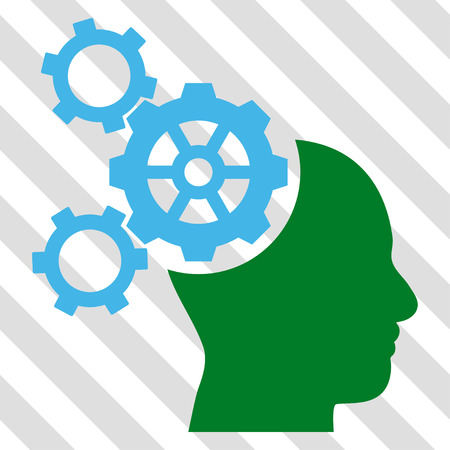 Brain Mechanics vector icon. Image style is a flat blue and green pictograph symbol on a hatched diagonal transparent background.