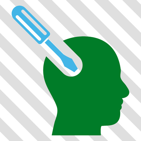 Brain Tool vector icon. Image style is a flat blue and green pictograph symbol on a hatched diagonal transparent background. Illustration