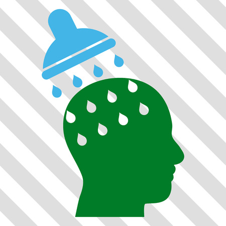 under control: Brain Washing vector icon. Image style is a flat blue and green iconic symbol on a hatched diagonal transparent background.