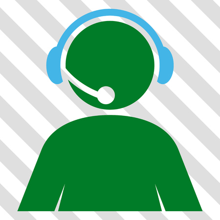 Call Center Operator vector icon. Image style is a flat blue and green iconic symbol on a hatched diagonal transparent background.
