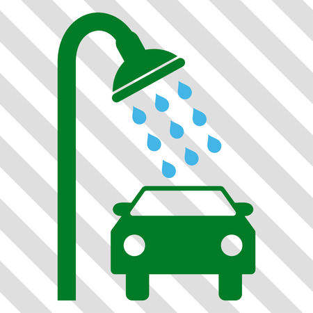 Car Shower vector icon. Image style is a flat blue and green icon symbol on a hatched diagonal transparent background. Illustration