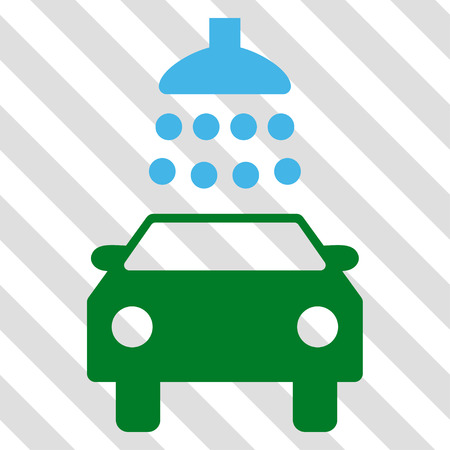 Car Shower vector icon. Image style is a flat blue and green iconic symbol on a hatched diagonal transparent background.