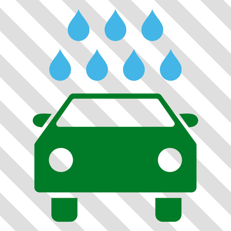 antiseptic: Car Shower vector icon. Image style is a flat blue and green iconic symbol on a hatched diagonal transparent background.