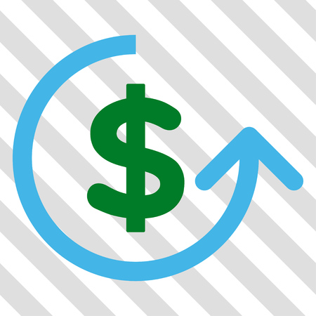Chargeback vector icon. Image style is a flat blue and green iconic symbol on a hatched diagonal transparent background.