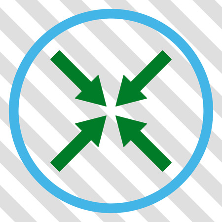 collide: Center Arrows vector icon. Image style is a flat blue and green iconic symbol on a hatched diagonal transparent background. Illustration