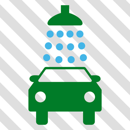 Car Wash vector icon. Image style is a flat blue and green pictogram symbol on a hatched diagonal transparent background.