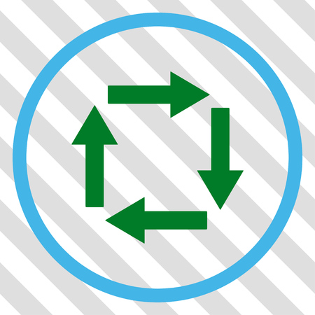 Circulation Arrows vector icon. Image style is a flat blue and green pictograph symbol on a hatched diagonal transparent background.