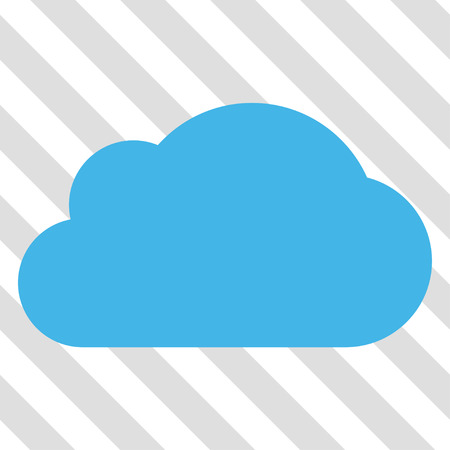 saas: Cloud vector icon. Image style is a flat blue and green pictogram symbol on a hatched diagonal transparent background.