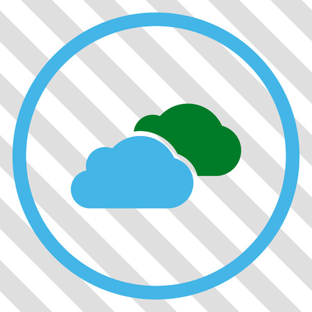 saas: Clouds vector icon. Image style is a flat blue and green pictograph symbol on a hatched diagonal transparent background.