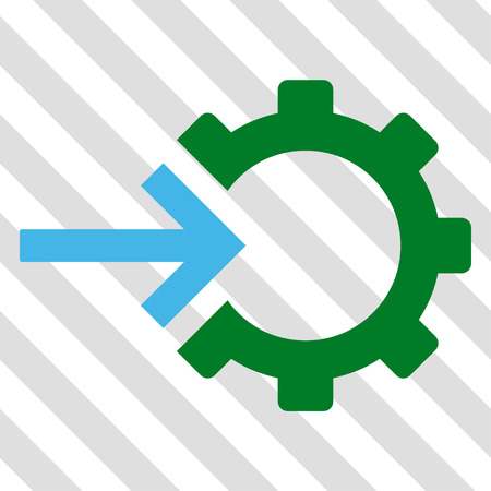 Cog Integration vector icon. Image style is a flat blue and green pictogram symbol on a hatched diagonal transparent background. Illustration
