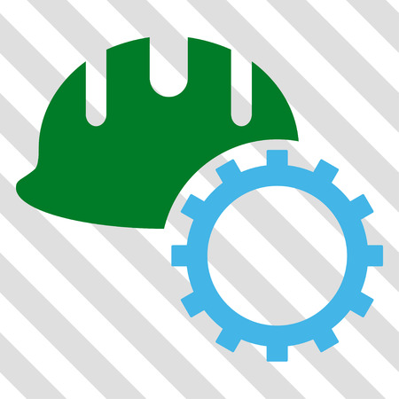 hardhat: Development Hardhat vector icon. Image style is a flat blue and green pictograph symbol on a hatched diagonal transparent background.