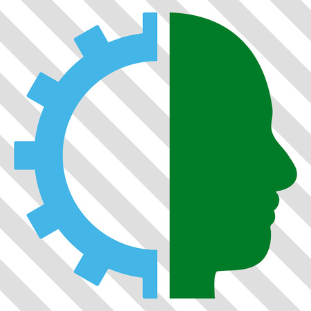 robo: Cyborg Gear vector icon. Image style is a flat blue and green pictogram symbol on a hatched diagonal transparent background.