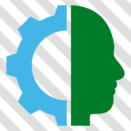 robo: Cyborg Gear vector icon. Image style is a flat blue and green pictograph symbol on a hatched diagonal transparent background.