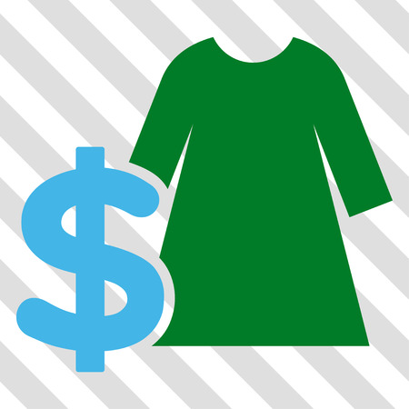 Dress Price vector icon. Image style is a flat blue and green pictograph symbol on a hatched diagonal transparent background.