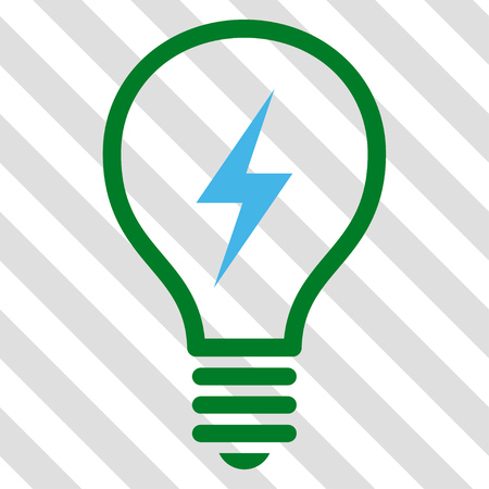 electric bulb: Electric Bulb vector icon. Image style is a flat blue and green icon symbol on a hatched diagonal transparent background.