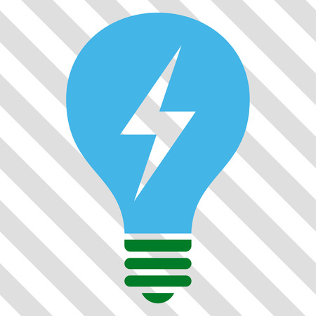 Electric Bulb vector icon. Image style is a flat blue and green pictograph symbol on a hatched diagonal transparent background.